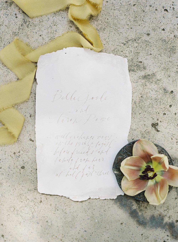 California Wedding Inspiration Fine Art Flowers Modern Romantic Finding Flora florist Sara Weir Silk Ribbon Wedding Invites Calligraphy Alley & Co