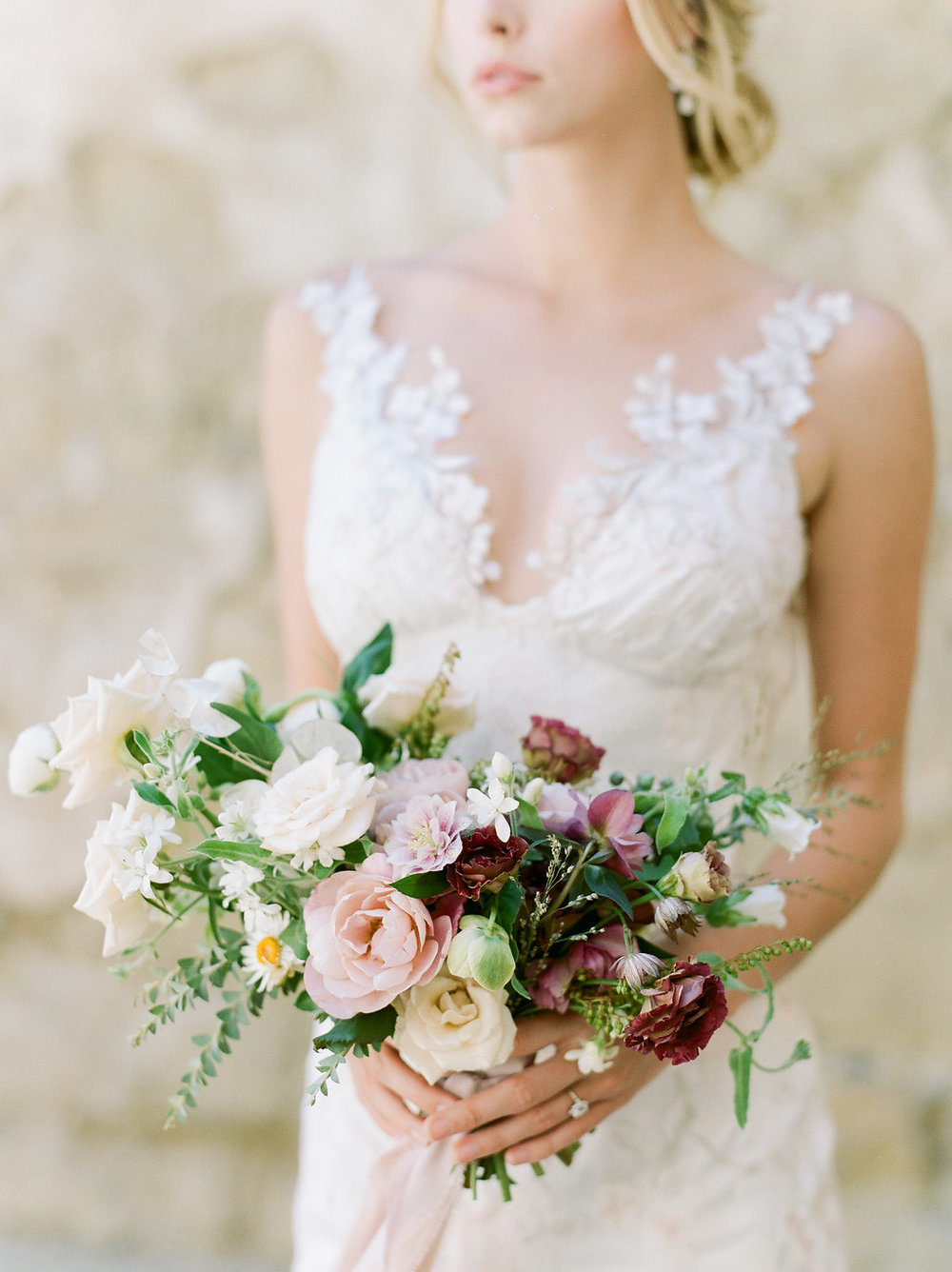 Spanish Mission Style Wedding Ideas Bridal Bouquet Summer Flowers Finding Flora Wedding Sparrow Fine Art