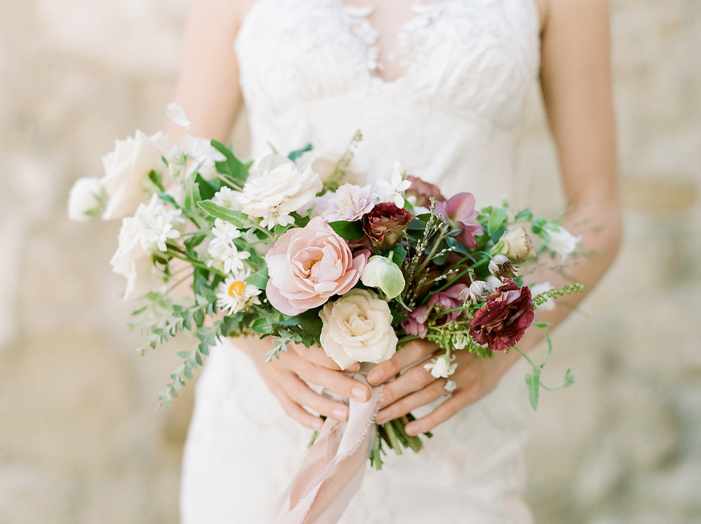 Spanish Mission Style Wedding Ideas Bridal Bouquet Summer Flowers Finding Flora Wedding Sparrow Roses Fine Art