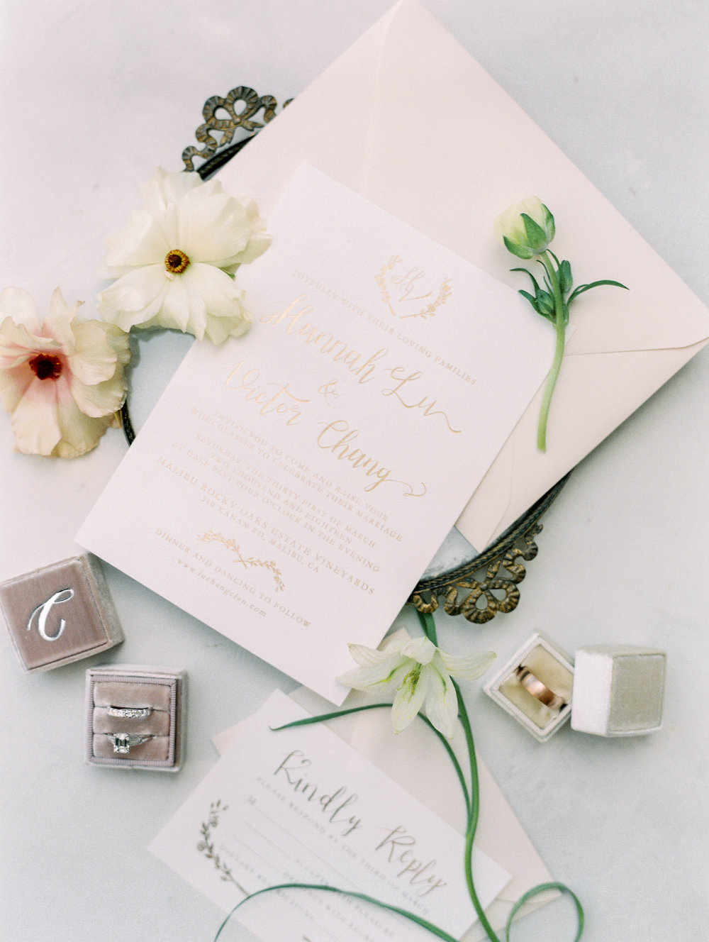 Spring Wedding at Romantic Hilltop Vineyard Malibu Rocky Oaks Sally Pinera Finding Flora Wedding Invites So Happi Together