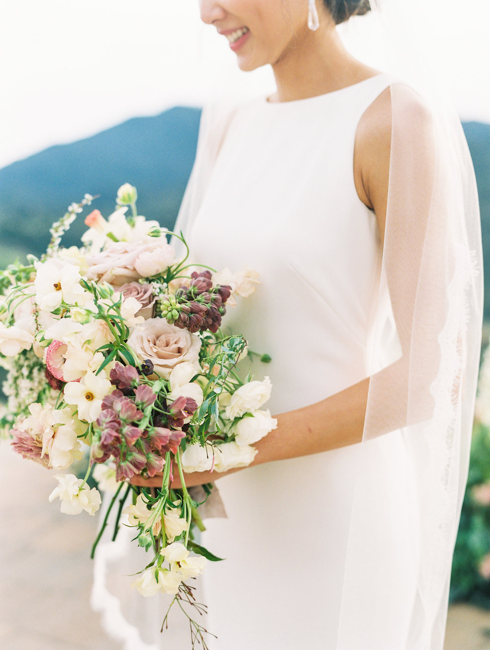 Spring Wedding at Romantic Hilltop Vineyard Malibu Rocky Oaks Sally Pinera Finding Flora Lush Bridal Bouquet Neutrals So Happi Together