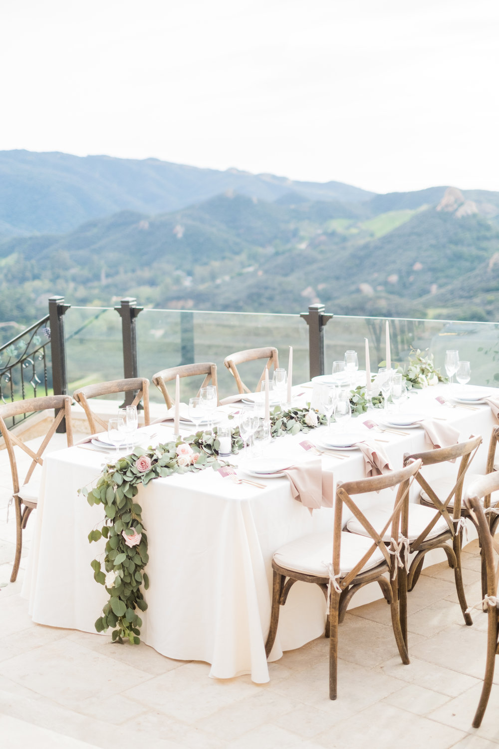 Spring Wedding at Romantic Hilltop Vineyard Malibu Rocky Oaks Sally Pinera Finding Flora Reception Decor Garland Greenery California Wedding So Happi Together