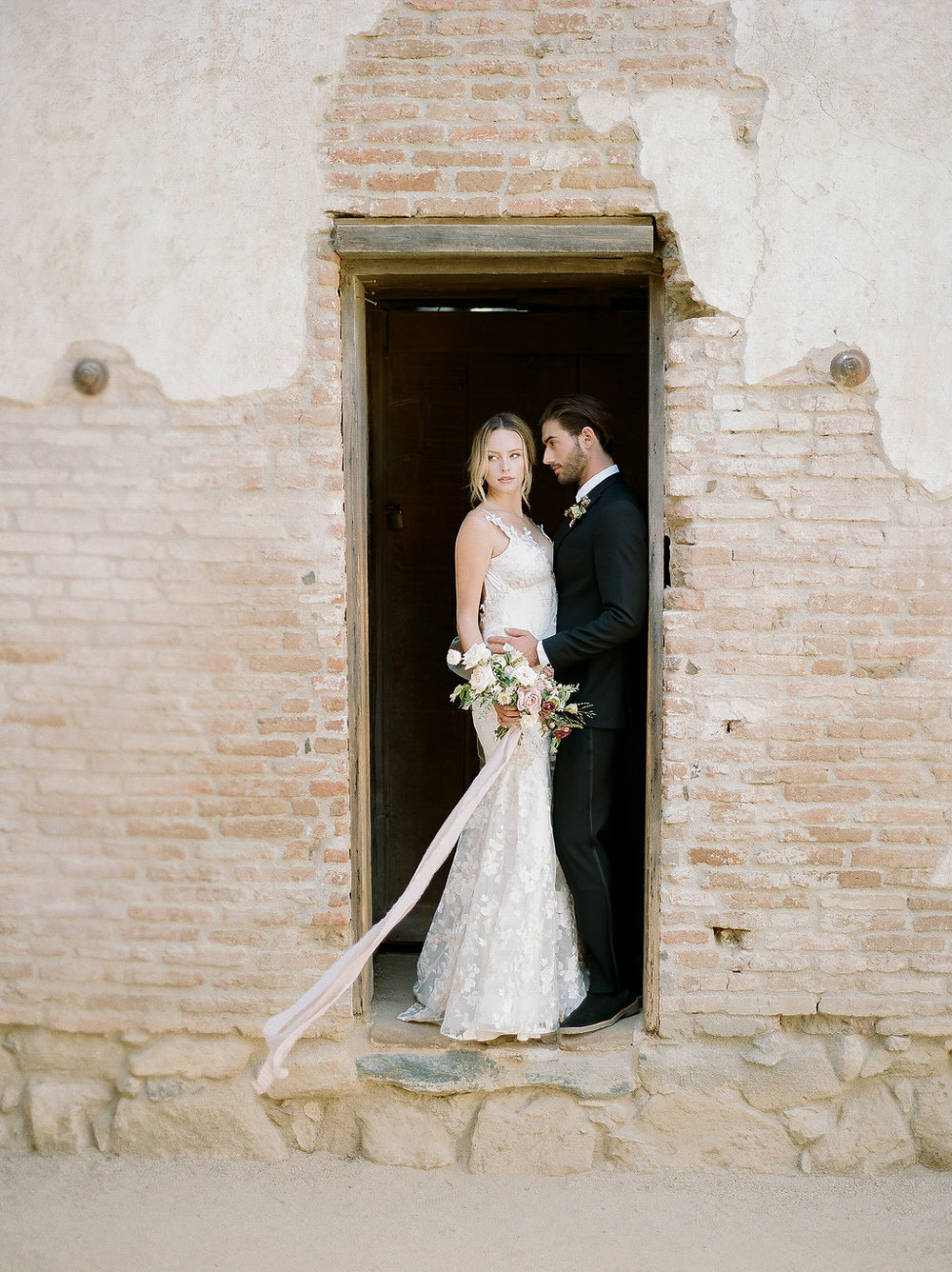 Spanish Mission Style Wedding Ideas Bridal Bouquet Summer Flowers Finding Flora Wedding Sparrow Fine Art Bride and Groom