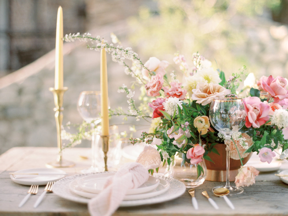 Reception Centerpiece Flowers by Finding Flora Taper Candles Wedding Planning St. George Utah California