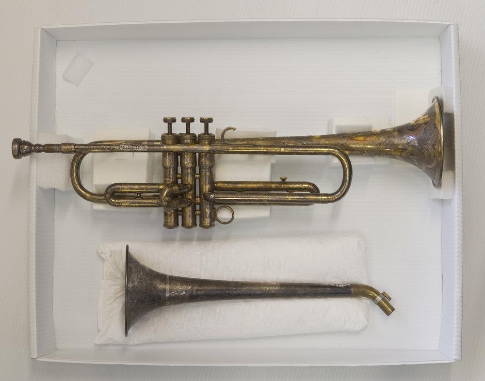 Dizzy Gillespie's bell-bent trumpet ,1978.118(A).157 a