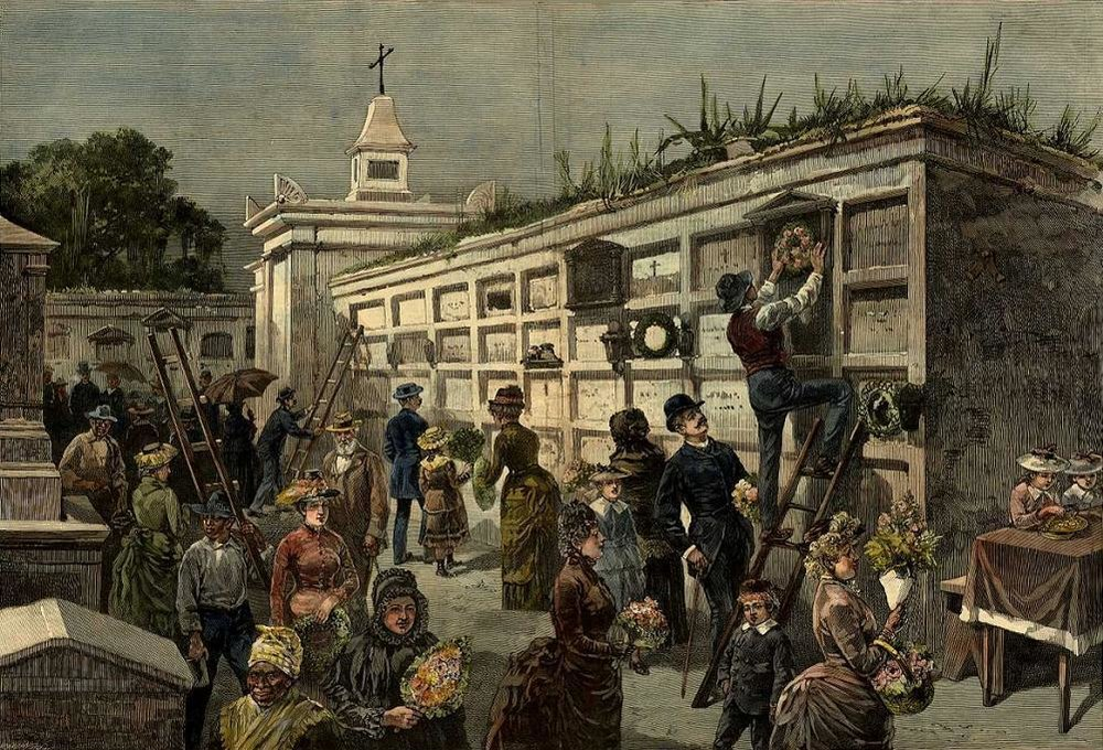 """""""Decorating the Tombs"""" from Harper's Weekly, 1885 (public domain)"""