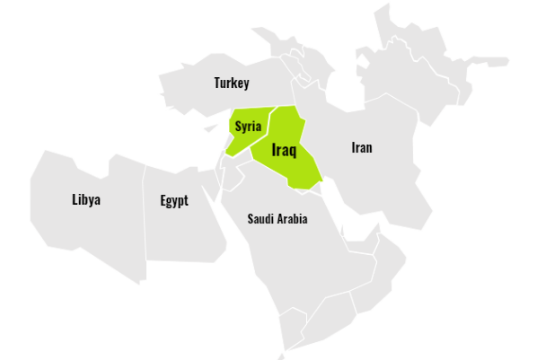 Map of Middle East and North East Africa: Syria and Iraq, shown in green, still have areas of ISIS controlled territory