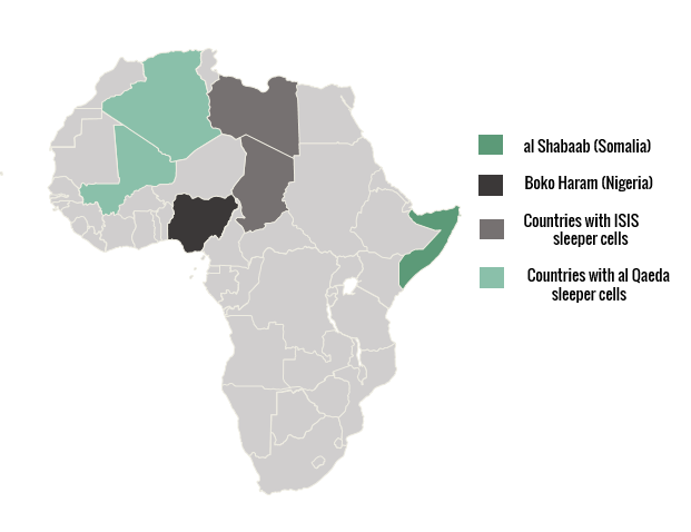 A sleeper cell is a group of spies or terrorists who are technically inactive until they are ordered to act.     There are ISIS/ al Qaeda supporters in many other African countries. The countries shown above are known to have active sleeper cells. Other countries act more as feeders, meaning that fighters leave their home countries to go fight in other African countries with their terrorist group.