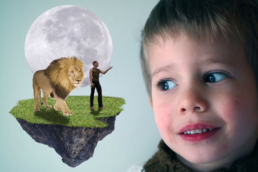 Image of a young child looking at a floating island with a lion, a man, and the moon on it [Rising Tide Women's Whole Life Wellness]