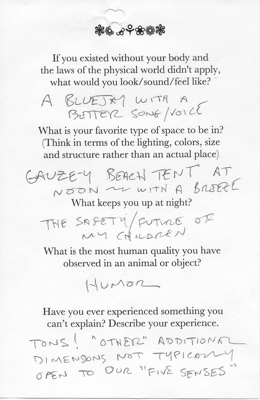 """Q: If you existed without your body and  the laws of the physical world didn't apply,  what would you look/sound/feel like?  A: A bluejay with a better song/voice.    Q: What is your favorite type of space to be in?  (Think in terms of the lighting, colors, size  and structure rather than an actual place)  A: Gauzey beach tent at noon-- with a breeze.    Q: What keeps you up at night?  A: The safety/future of my children.    Q:What is the most human quality you have  observed in an animal or object?  A: Humor.    Q: Have you ever experienced something you  can't explain? Describe your experience.  A: Tons! """"Other"""" additional dimensions not typically open to our """"five senses."""""""