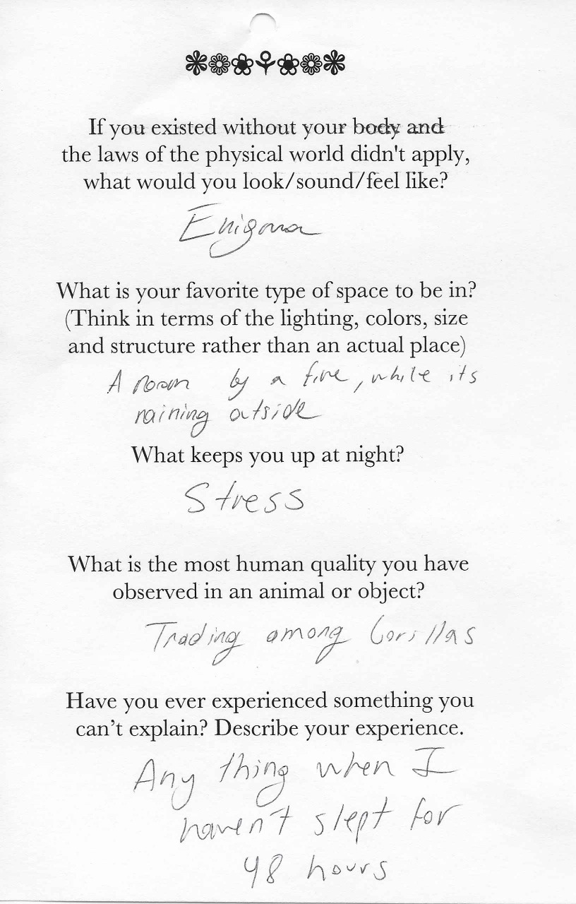 Q: If you existed without your body and  the laws of the physical world didn't apply,  what would you look/sound/feel like?  A: Enigma.    Q: What is your favorite type of space to be in?  (Think in terms of the lighting, colors, size  and structure rather than an actual place)  A: A room by a fire while it's raining outside.    Q: What keeps you up at night?  A: Stress.    Q:What is the most human quality you have  observed in an animal or object?  A: Trading among gorillas.    Q: Have you ever experienced something you  can't explain? Describe your experience.  A: Anything when I haven't slept for 48 hours.