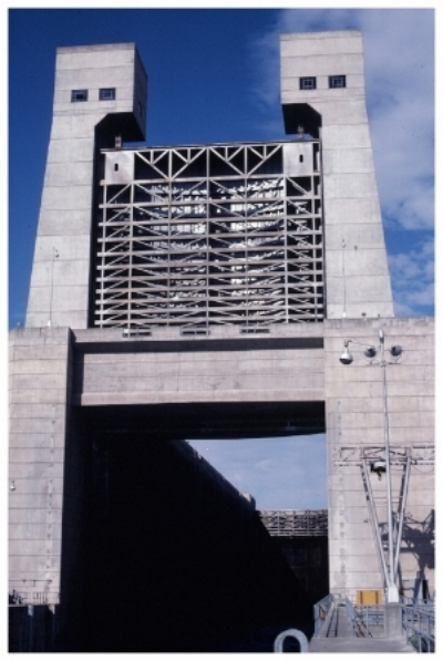 Vertical gate at John Day Lock and Dam on the Columbia River.