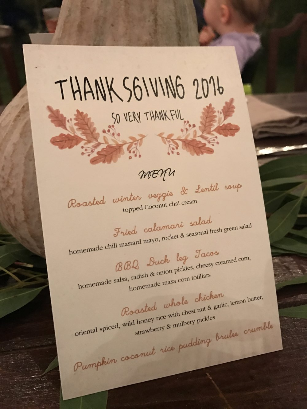Rustic and Blue Farm Dinner November 2016 Menu