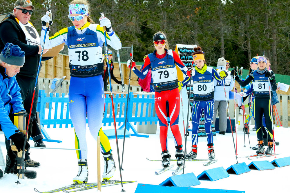 Lexie Madigan (78) of Sugar Bowl Ski Team, Paige Colette (79) of BSF, Kendall Kramer (80) of NSCF-FXC, Molly Fehringer (81) of Lander Nordic Ski Association - Women's U-16 Interval Start Freestyle 5k