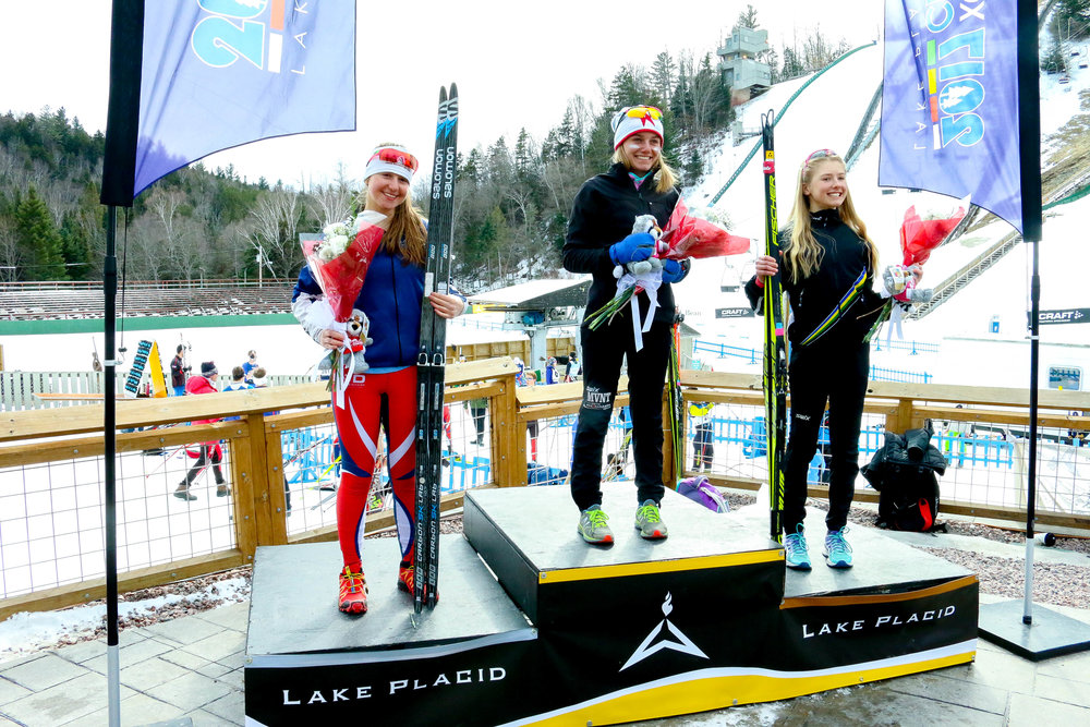 Interval Start Freestyle U-16 Women's 5k Podium: 1st Place- Novie McCabe (83) of Methow Valley Nordic Ski Educational Foundation, 2nd Place- Sydney Palmer-Leger (125) of PCNSC, 3rd Place- Nina Seemann (87) of Auburn Ski Club Associates Inc.