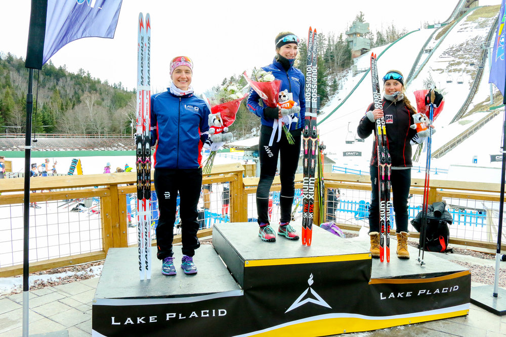 Interval Start Freestyle U-18 Women's 5k Podium: 1st Place-Margaret Geller (161) of AWS, 2nd Place- Sofia Shomento (167) of BSF, 3rd Place- Ezra Smith (163) of Summit Nordic Ski Club