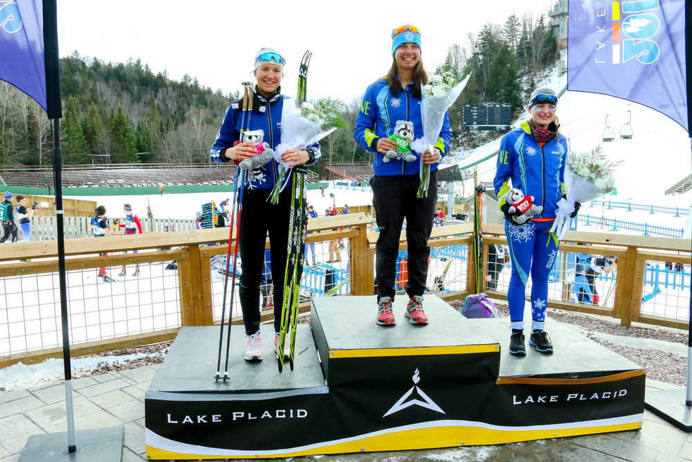 Interval Start Freestyle U-20 Women's 5k Podium: 1st Place- Julia Kern (148) of the Stratton Mountain School, 2nd Place- Katherine Weaver (181) of Hollyburn Cross Country Ski Club, 3rd Place- MacKenzie Rizio (150) of the University of Vermonth Ski Team