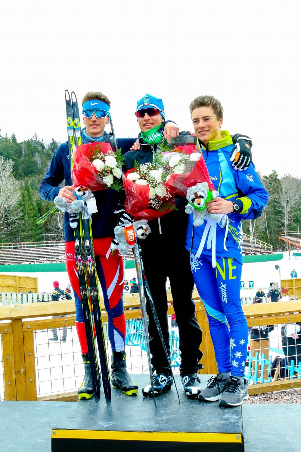 Men's U-16 Interval Freestyle 5k Podium: 1st Place- Haydn Halvorsen of Sugar Bowl Ski Team & Academy, 2nd Place- Johnny Hagenbuch of SVSEF, 3rd Place- Will Koch of Stratton Mountain School