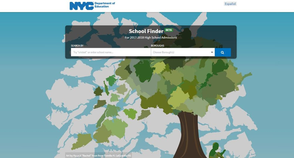 The new NYC School Finder allows users to search for high schools by interest and borough, whether they are online or off, on desktop or mobile.