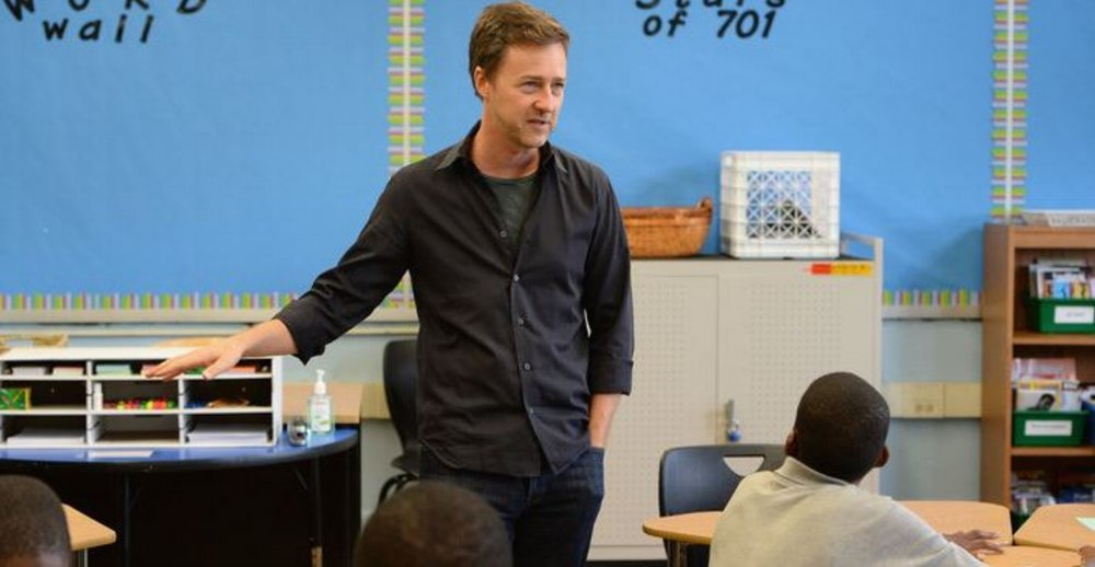 Edward Norton discusses arts with students at East Flatbush Community Research School as part of the Turnaround Arts program.