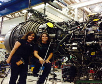 Mary and Rosann at work as Airline Technicians