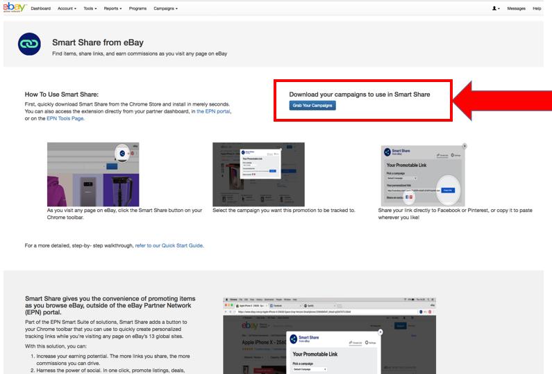 """Captura de pantalla de la página de la página de aterrizaje de Smart Share del portal EPN en la que se resalta el botón """"Descarga tus campañas""""."""