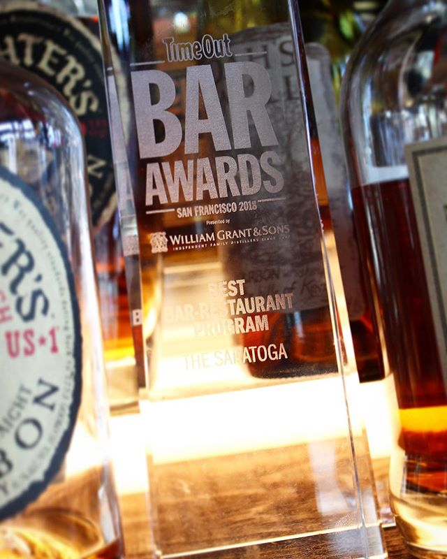 "We found the perfect spot to store our @timeout_sf trophy! 😆 Winners of ""Best Bar-Restaurant Program"" 🏆 #timeoutsf #bestbar #bestrestaurant #best #winner #winners #winning #bar #restaurant #cocktailbar #dreamteam #thesaratogasf #tenderloinsf #sanfrancisco"