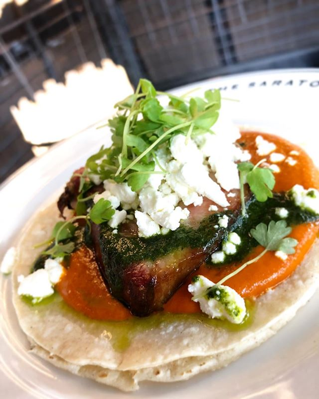 Happy Taco Tuesday! 🌮🎉 Smoked pork belly, brava sauce, cilantro oil, and crumbled feta. #special #dinner #taco #tuesday #tacotuesday #happyhour #pork #porkbelly #thesaratogasf #tenderloinsf #sanfrancisco
