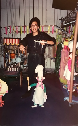 "Circa 1992. Puppeteer Cesar and ""Cook"" marionette."