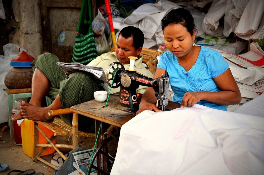 Seamstress at work, Mandalay