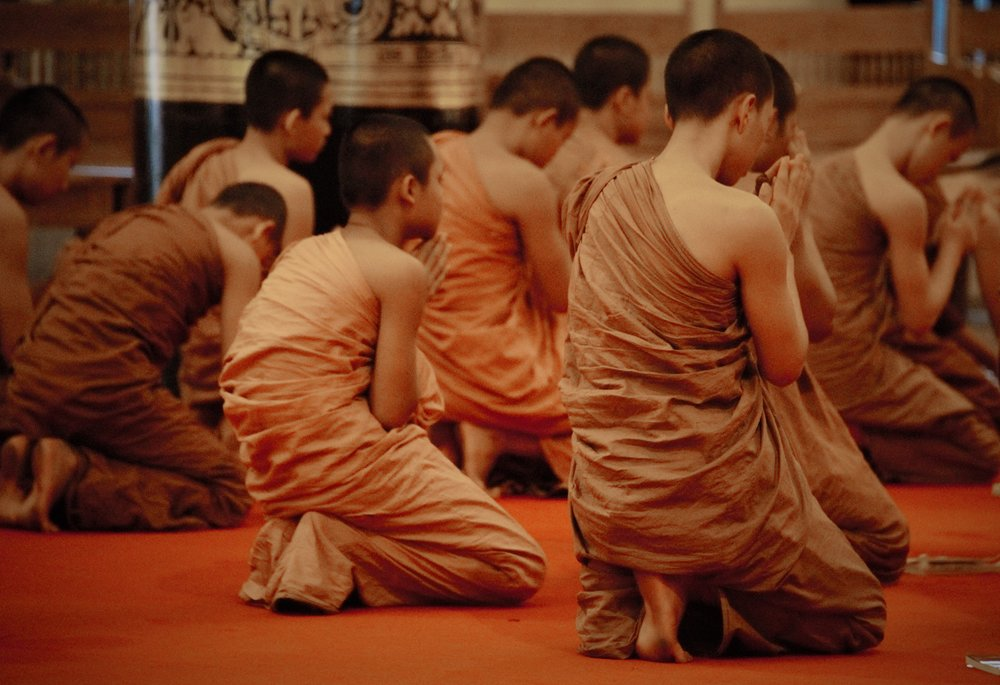Monks chanting, Chaing Mai, Thailand