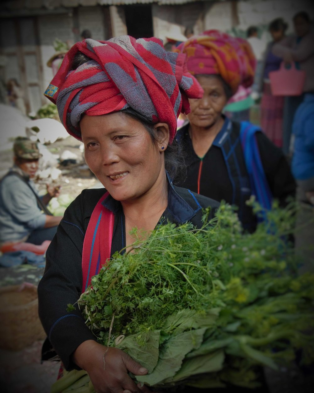 Akha women, farmers market, Inle Lake