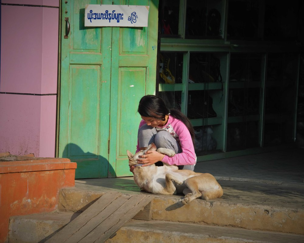 Young girl pets dog, Inle Lake