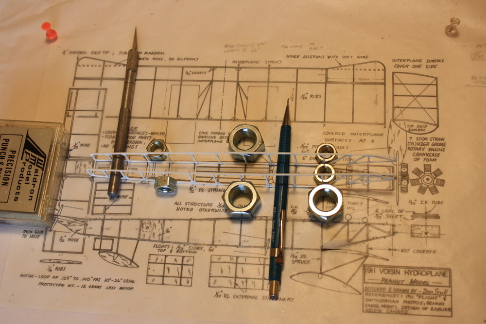 Voisin Hydroplane Scratch-build in-progress 1/32nd scale. Photo 2 of 5.