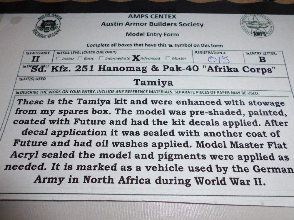 TAMIYA HANOMAG SD. KFZ. 251 w/PAK-40 ''AFRIKA KORPS''