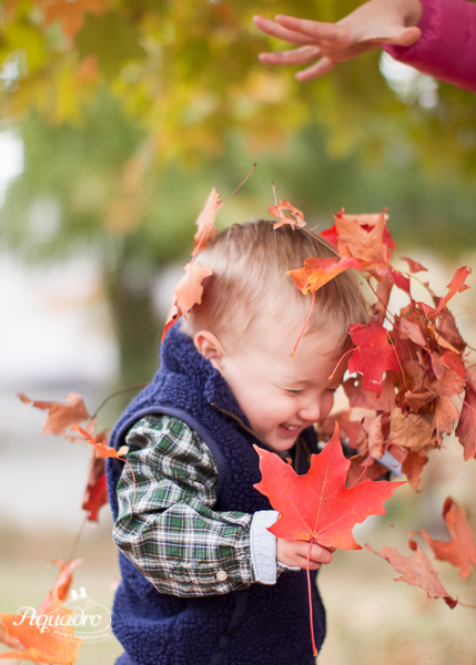 toddler in autumn leaves