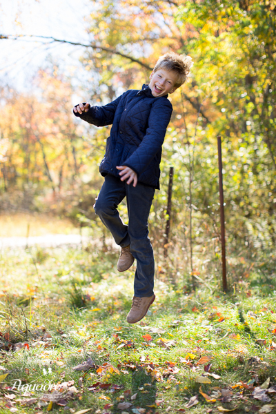 boy leaping and laughing