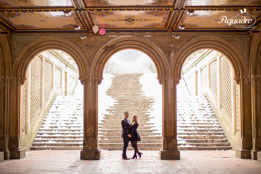 Engaged Couple in Bethesda Terrace