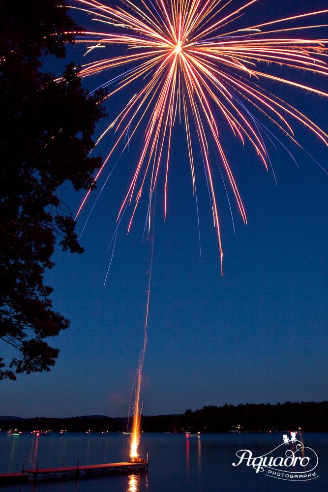 A 5-second exposure captures a single shell burst