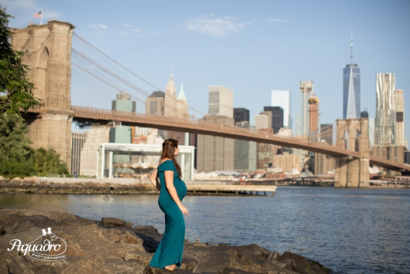 Pregnant Mom and New York Skyline
