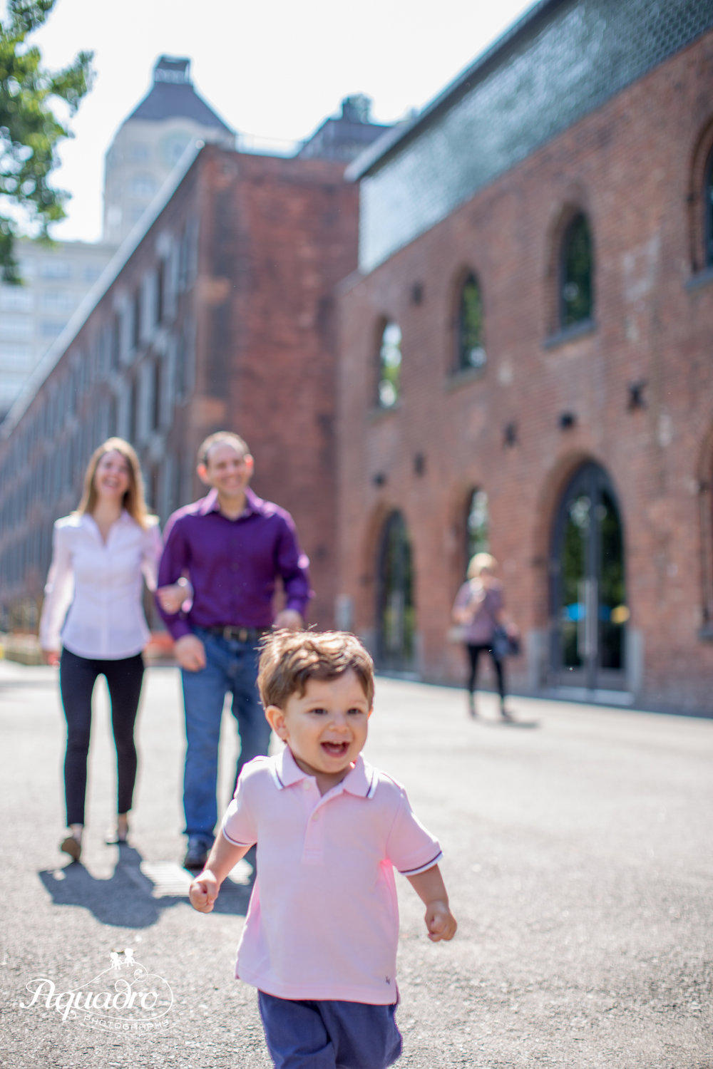 Mom, Dad,  Son at Brooklyn Bridge Park