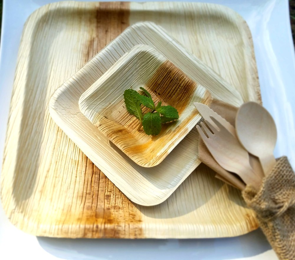 Biodegradable Plates & Utensils made with Fallen Palm Leaves