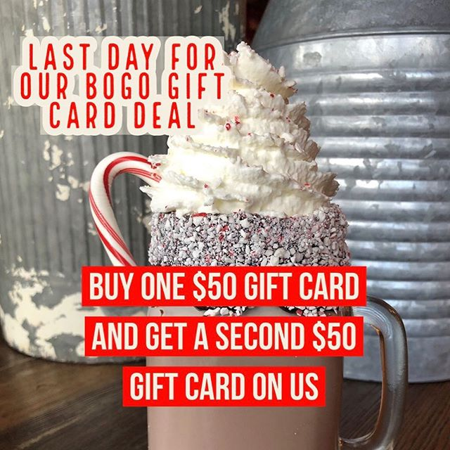 Last chance for our amazing gift card sale!!!! Forest Ave is open until 9 tonight if you can't make it earlier! Buy one $50 gift card and get a second $50 gift card on us! #projectbrunch #bogo