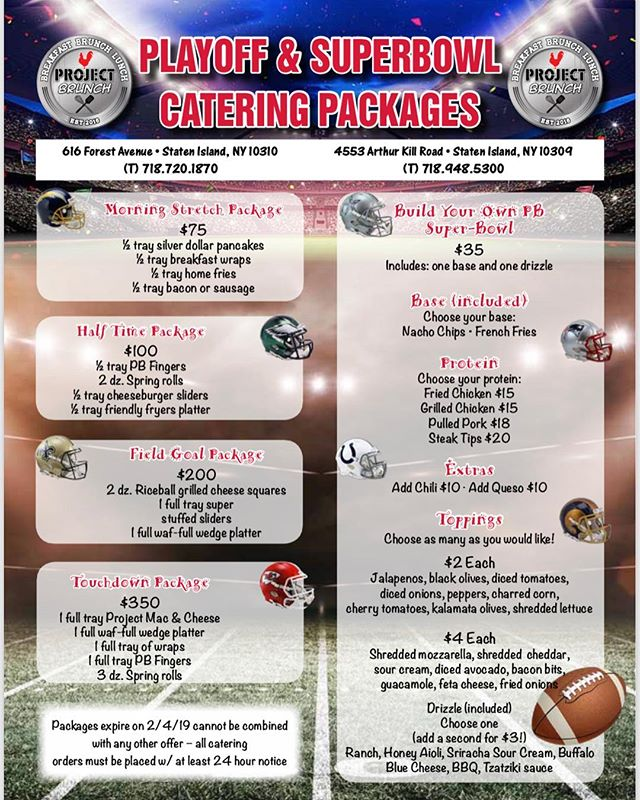 Call today for our Catering Specials‼️ These specials are available everyday from now until February 4th. Swipe to see our new Build Your Own Super-Bowl for catering! You can't have a party without one of these! #projectbrunch