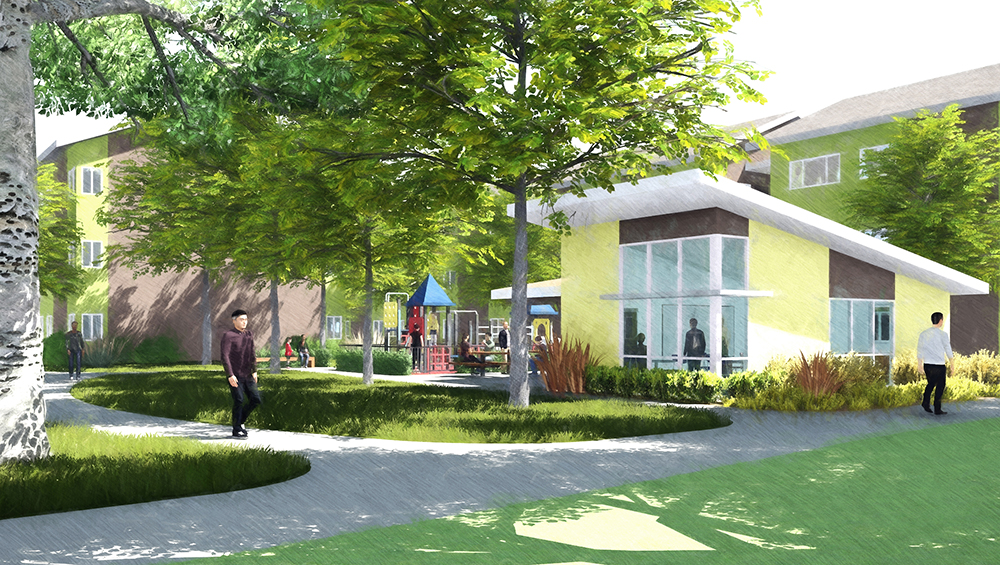Orchard Park Laundry Building  renderings by Mogavero Architects