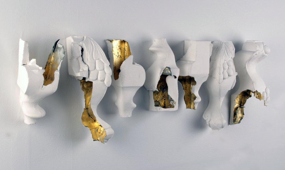 WHAT GETS KEPT (alt. view) - porcelain / slip-cast / gold leaf / 2013