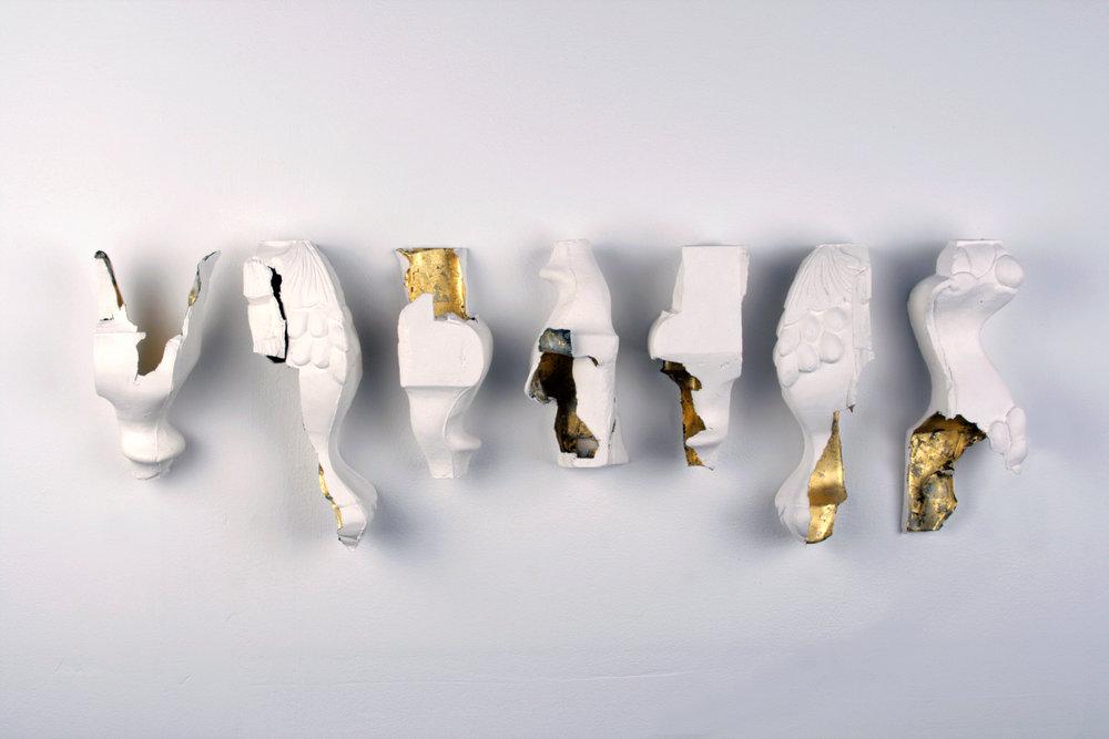 WHAT GETS KEPT - porcelain / slip-cast / gold leaf / 2013
