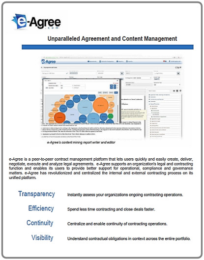 PRODUCT Sheet  Find out more about e-Agree's peer-to-peer contract management solution!