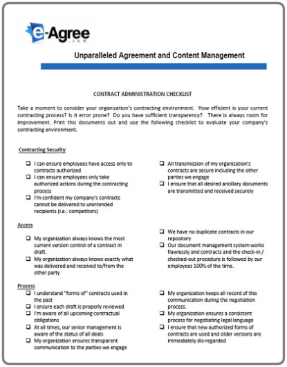Contract Management Checklist  How does your organization measure up? Download this checklist and assess your current transaction environment and internal controls.  How many boxes can you check?