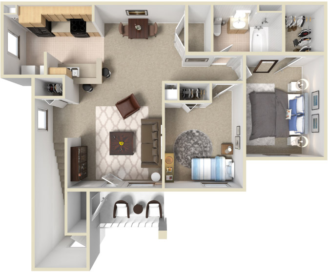 Second Floor Two Bedroom One Bathroom Floor Plan.jpg